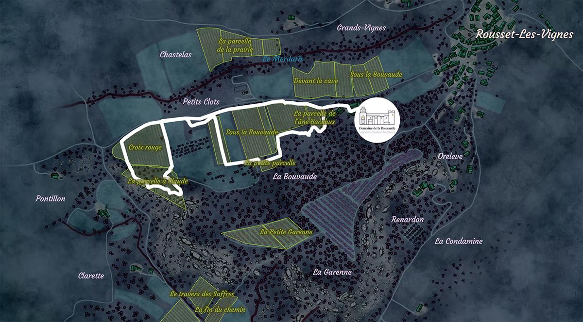 Le parcours de visite Entre Vignes et Lumières serpentant au milieu du vignoble