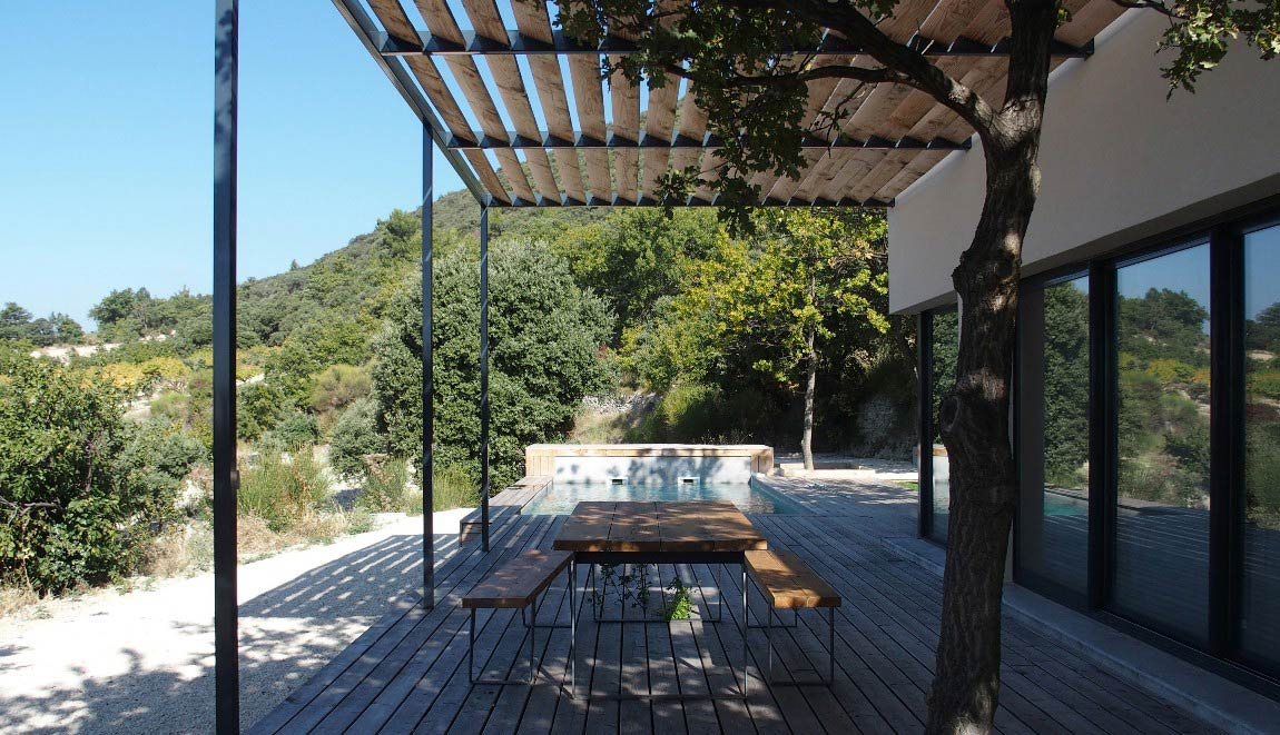 Cottage Drôme vineyard swimming pool and view
